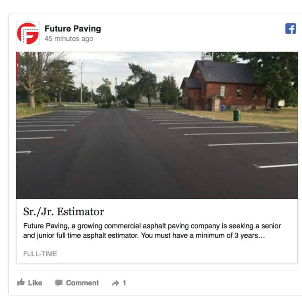 Future Paving Job Offer Jr.:Sr. Asphalt PAving estimator